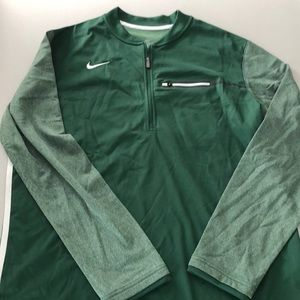 L-XL Dri-Fit Quarter Zip Pullover Jacket Green